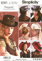 Simplicity Sewing Pattern 8361 Women's Hats Costume Steampunk Veil Top Hat