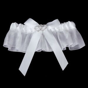 Bridal-Double-Heart-Rhinestone-Wedding-Garter-Satin-Toss-White-B5T2