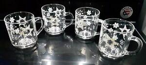 Luminarc-Clear-Glass-Coffee-Cup-Mug-Snow-Flakes-Holiday-Christmas-Set-of-4