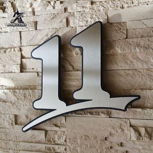 Edelstahl Hausnummer 11 mit Acrylglas,17cm<wbr/>,21cm,31cm Ziffernhöhe von Alezzio Neu