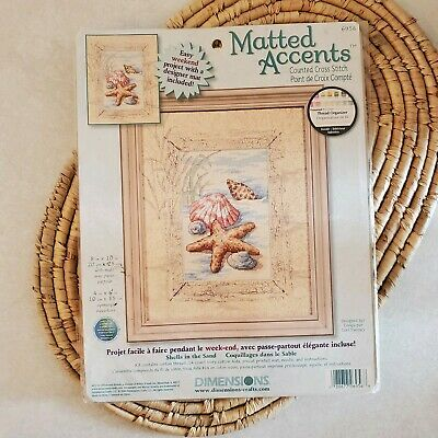 Dimensions Matted Accents Shells In The Sand 6956 Counted Cross Stitch Kit