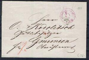 Ndpb Faltbrief Ab Ffm 6.1.1869 Après Gemanden Rare Lavande Franco Cachet-afficher Le Titre D'origine Petit Profit