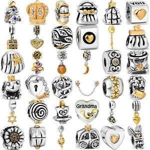 Fashion-gold-925-silver-charms-bead-For-Sterling-PAN-Bracelet-Bangle-Necklace-UK