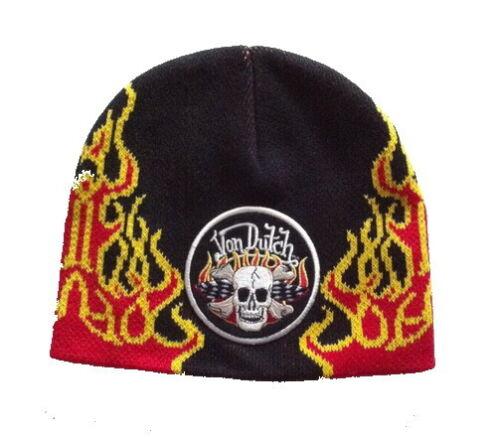 Fire Von Dutch beanie with skull
