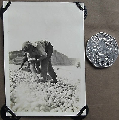 Vintage 1920s photograph Men collecting shell-fish on beach Working class French