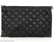 P2895 Topshop Black Quilted Metal Corner Clutch Bag