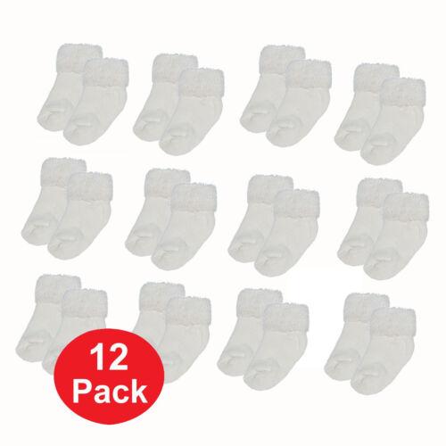 Infant Newborn Baby Boys Girls 0-6 Mo White Solid Turn Cuff Socks 12 PAIR #80005