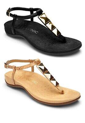 Vionic Samoa RRP £70 Leather Orthotic Sandals Mules Adjustable Slip On Womens
