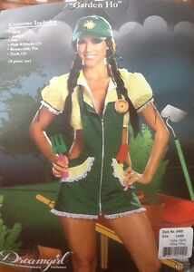 Details about 4 Pc Sexy Gardener Halloween Garden Costume Adult Large  140,160 lbs