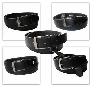 Mens Black Genuine Leather Belts 100% Cowhide Heavy Duty Belt 38mm Wide
