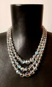 Czech-Aurora-Borealis-Faceted-Crystal-Glass-Bead-Necklace-Triple-Stand-Vintage