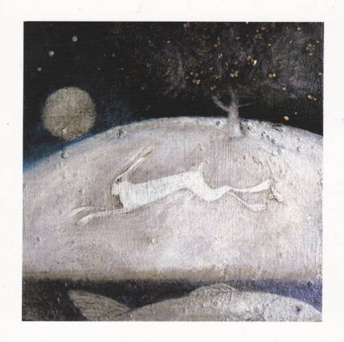 PAGAN WICCAN GREETING CARDS Galloping Hare CELTIC NATURE Goddess CATHERINE HYDE