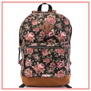 ddec2d3e2d7b1 NWT Steve Madden Girl Boho Black Pink ROSE Floral Backpack BAG Tote ...