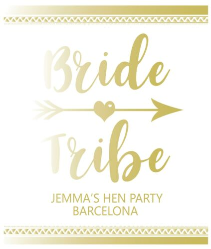 Pack of 6 Bride Tribe Personalised Wine Bottle Labels