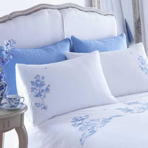 50cm x75cm Kaleidoscope White with Blue Emboridery Limoges Standard Pillowcases