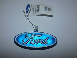 New With Tag Officially Licensed Ford Motors Logo Glass Christmas Ornanment Ebay