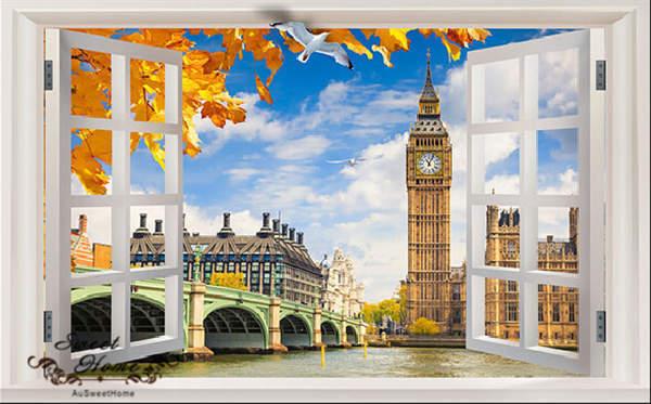 3D Big Ben London Window Wallpaper Full Wall Mural Photo Printed Home Decor Kids