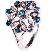 0.32+ ct NATURAL REAL ROUGH DIAMOND .925 STERLING SILVER RING SIZE 7 see video