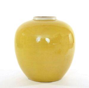 1900-039-s-Chinois-Moutarde-Jaune-Glaze-Monochrome-Porcelaine-Pot-Pot-Vase-22CM
