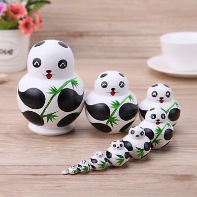 10pcs//Set Basswood Panda Nesting Dolls Handmade Matryoshka Dolls Toys Gift