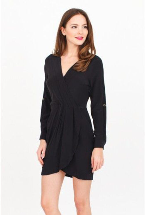 YUMI KIM Alexis Silk Pleated V-Neck Summer Night Tab Shirt Dress dodger schwarz S