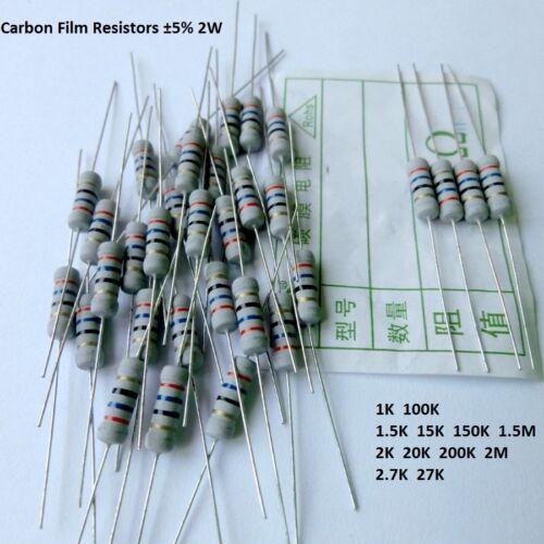 1K//1.5K//2K//24K//27K//29K//150K Ohm-2M ohm 2W Watt Carbon Film Resistors Tol ±5/%