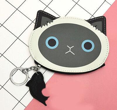 Retro Cat and Fish Fob Coin Purse Harajuku Key Ring Card Zipped Gift Cat Lovers