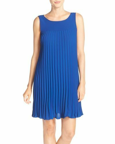 ADRIANNA PAPELL Women Flyaway Pleated Dress  Size 10  Deep Ocean