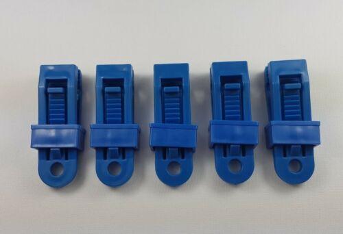 X5 BLUE REUSABLE PLASTIC TARPAULIN CLIPS CLIP EYELETS NON PIERCING TENT COVER