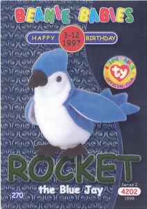 TY Beanie Babies BBOC Card - Series 2 Birthday (GREEN) - ROCKET the Blue Jay -NM