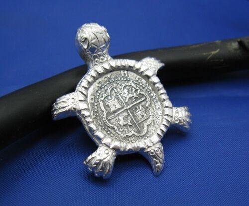 Sterling Silver Sea Turtle Pendant with Treasure Coin Unique Nautical Necklace