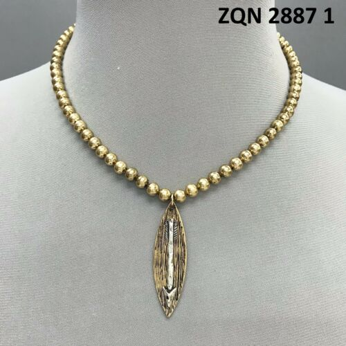 Gold Colored Beads Pointed Oval Shape Silver Color Arrow Design Pendant Necklace