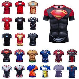Mens-Tops-Superhero-Avengers-Marvel-3D-Print-T-shirt-Compression-Sports-Gym-Tee