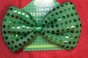 St. Patricks Day Green Sequin Bow Tie - Costume Party Irish Elastic Band