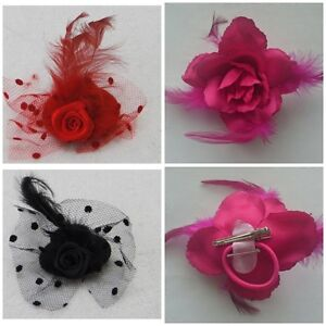 Flower-Hair-Clip-Feathers-Small-Mini-Top-Hat-Fascinator-Royal-Ascot-Race-Wedding
