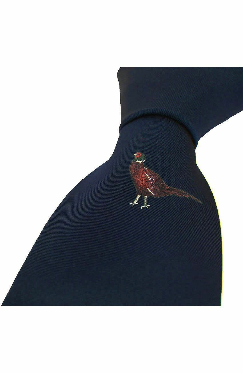 Country Silk Tie - Single Standing Pheasant