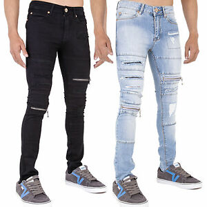 JEANS Uomo Pantaloni Denim Slim Fit Skinny Strappati Stretch Nero Grigio Chiaro Nuovo