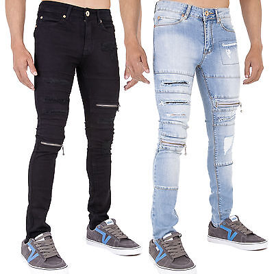 Offizielle Website New Mens Super Skinny Stretch Punk Retro Denim Ripped Zip Funky Jeans All Waist