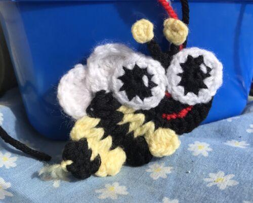 Crochet Busy Bee Appliqué Scrapbooking Hair Clips