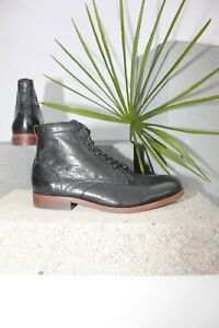 H-By-Hudson-Black-Leather-Lace-Up-Mondego-Formal-Ankle-Chelsea-Boots-8-42-New