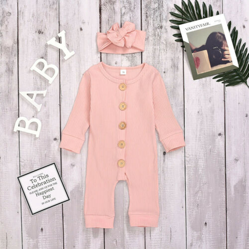 Newborn Infant Baby Solid Button Romper Climbing Loose Jumpsuit Hairband Outfit