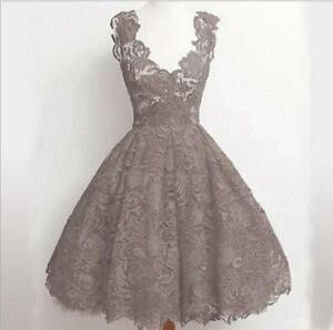 Womens Fashion Lace V-Neck Sleeveless Flared Formal Party Evening Dress 1501