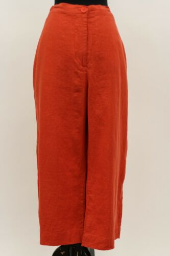 FLAX BOLD LINEN GAUCHO POCKET CROPPED SUNNY PANT TOMATO SOUP PLUS SIZE 2G