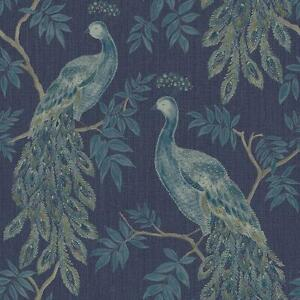 Peacock-Bird-Wallpaper-Metallic-Tree-Animal-Print-Blue-Paste-Wall-Vinyl-Arthouse