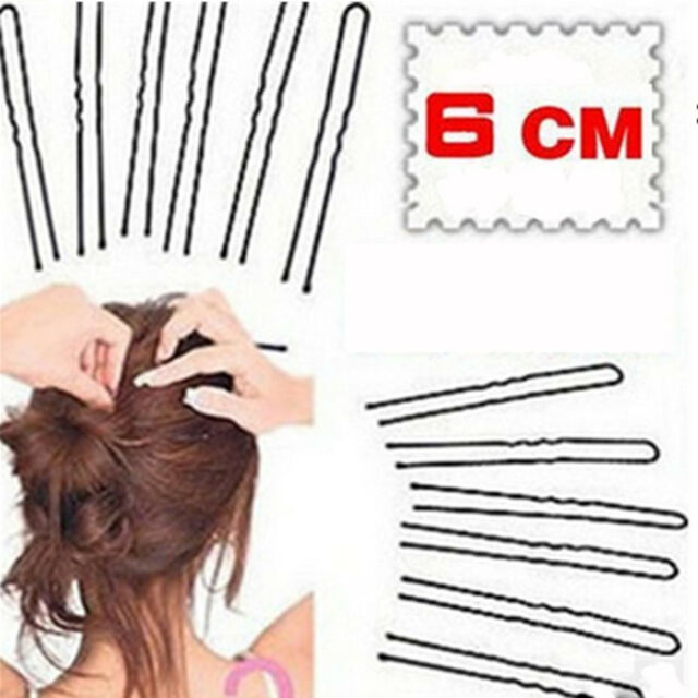 50pcs Hair Waved U-shaped Bobby Pin Barrette Salon Grip Clip Hairpins Black 6CM