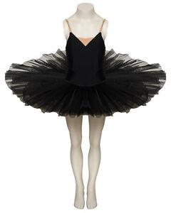 Tanzen Mädchen Damen schwarz Tanz Ballett Praxis Pfannkuchen Plateau Tutu alle Größen