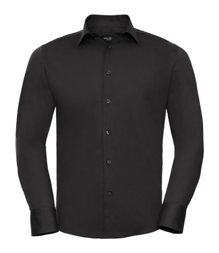 Russell Mens Cotton BROWN BLACK WINE WHITE Long Sleeve Easy Care Fitted Shirt