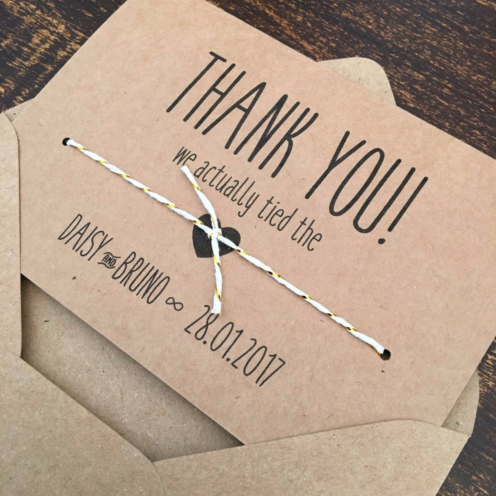 Personalised Handmade Wedding Thank You Cards, Tied the Knot, Rustic Vintage