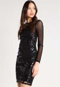 981c474a Image is loading New-Lipsy-Black-Long-Sleeve-Sequin-Bodycon-Dress-
