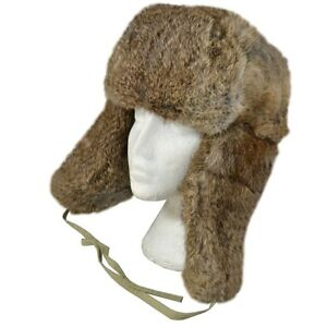 a1c6925044b Russian Style Rabbit Fur Ushanka - Cossack Brown Winter Ski Hat Cold ...